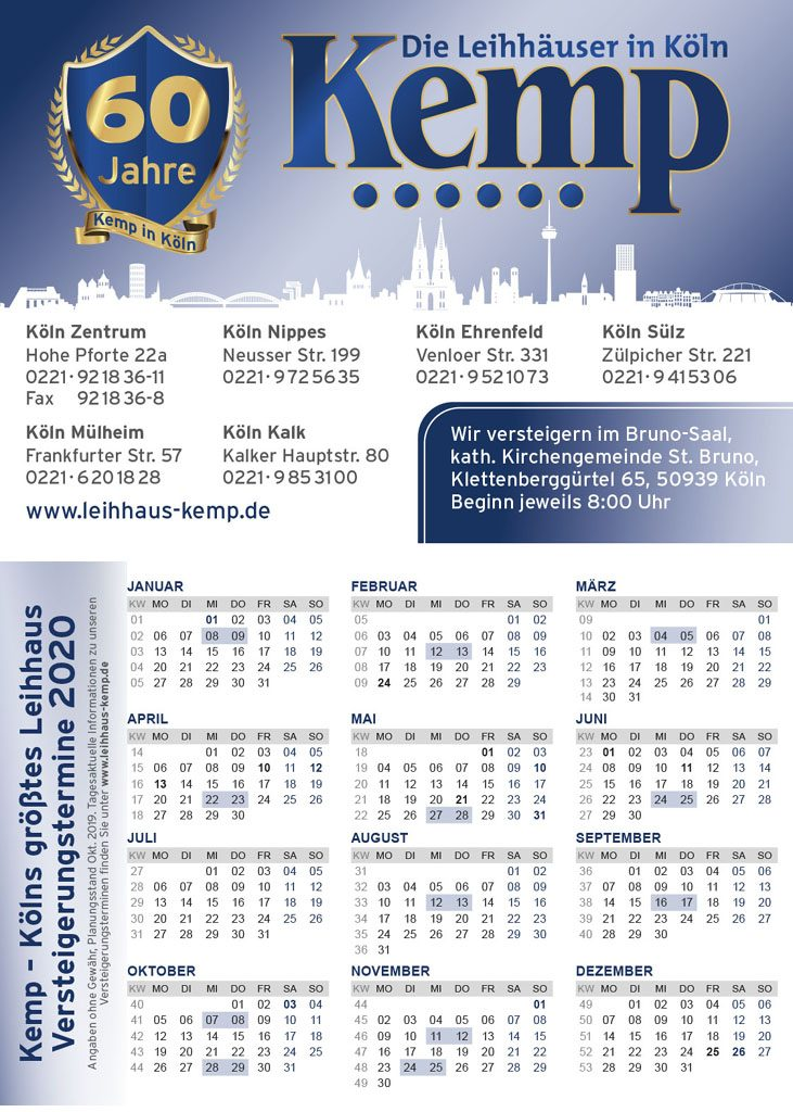 Terminkalender Versteigerung Pfandhaus Kemp Köln