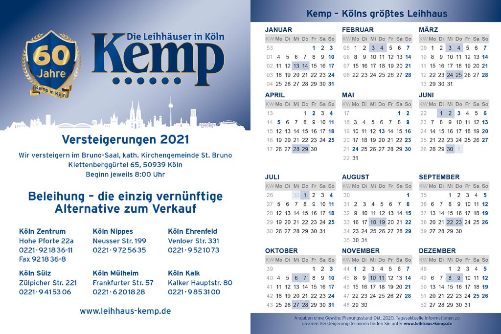 Terminkalender Versteigerungen 2021